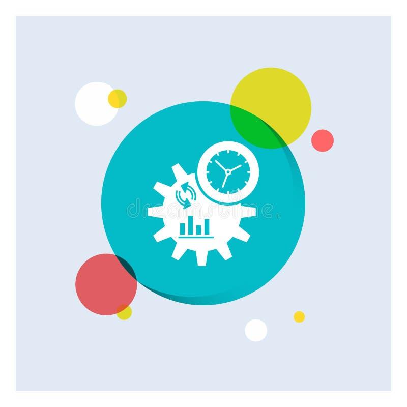 De zaken, techniek, beheer, verwerken de Witte Glyph-Achtergrond van de Pictogram kleurrijke Cirkel vector illustratie