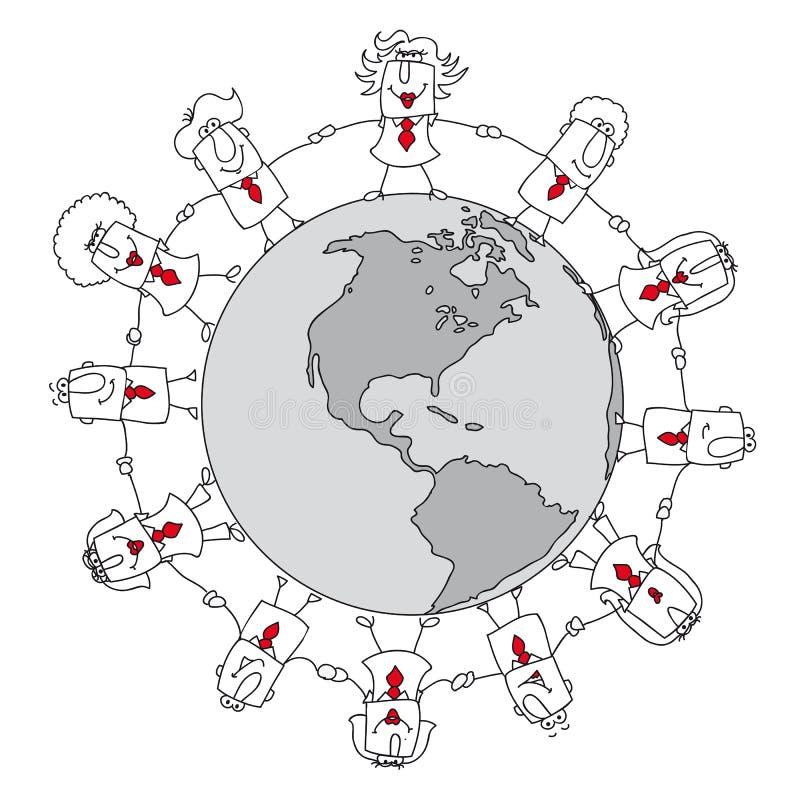 De zaken van de spreadsheet rond de wereld stock illustratie