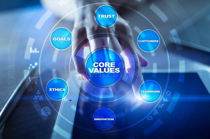 De zaken van kernwaarden en technologieconcept op het virtuele scherm royalty-vrije stock afbeeldingen