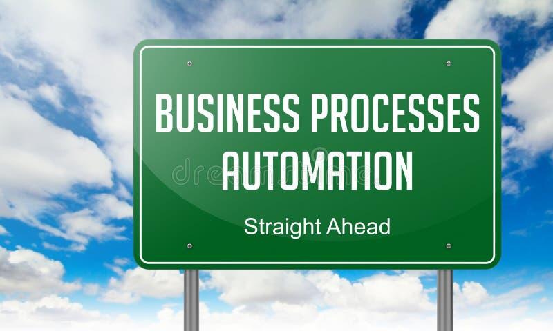 De zaken verwerken Automatisering op Weg van wegwijzers voorzien vector illustratie