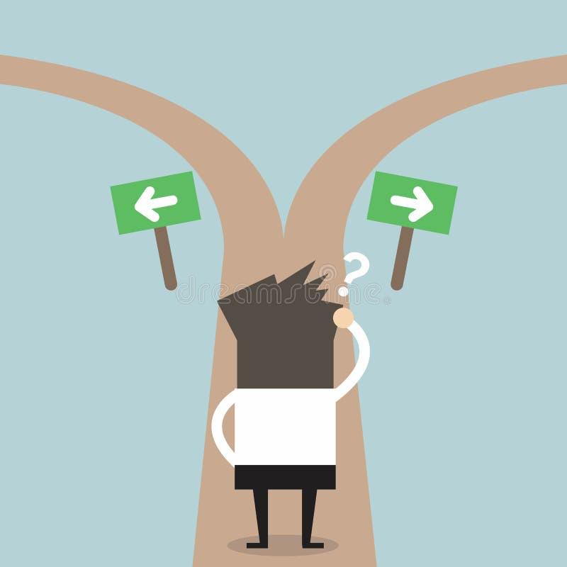 De zakenlieden aarzelen om weg te kiezen Besluitconcept vector illustratie
