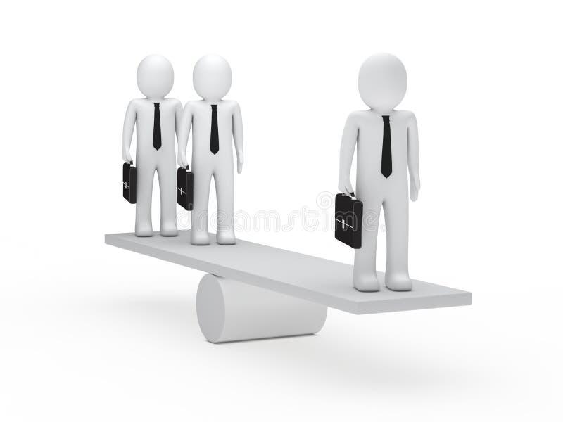 De zakenlieden brengen op geschommel in evenwicht