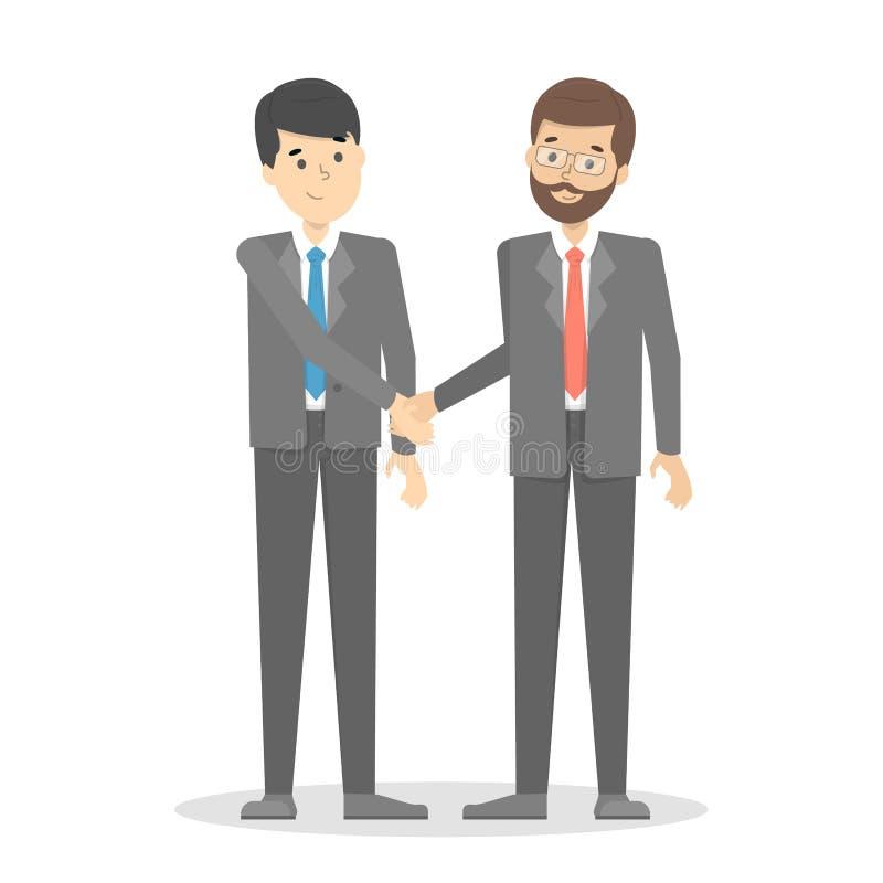 De zakenlieden die handen schudden als teken van agreemen royalty-vrije illustratie