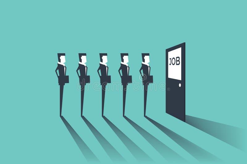 De zakenlieden die op baan wachten interviewen Eenvoudig concept met het werk situatie, rekrutering of het huren vector illustratie