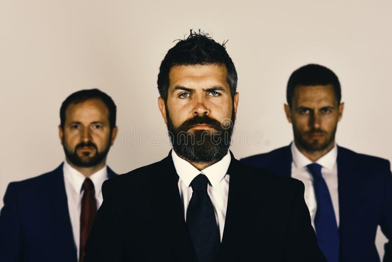 De zakenlieden dragen slimme kostuums en banden Mensen met baard royalty-vrije stock afbeelding