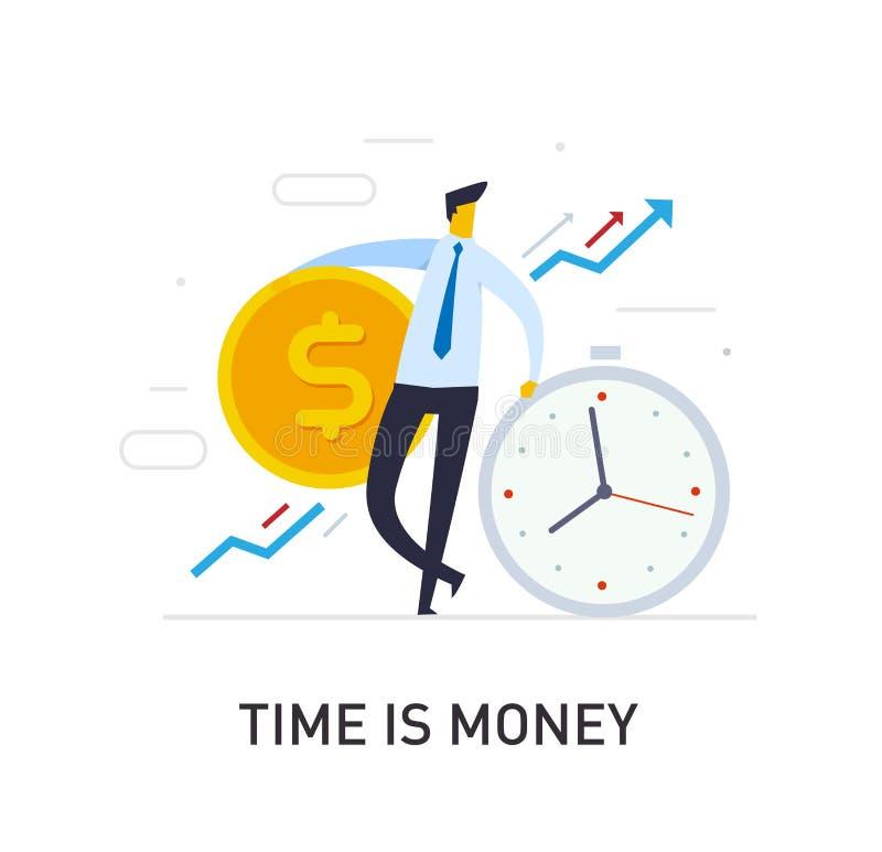 De zakenlieden houden een reusachtig dollarmuntstuk zich op klok baseert Manier aan succes, wisselkoers Bedrijfs concept stock illustratie
