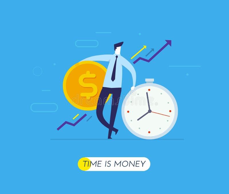 De zakenlieden houden een reusachtig dollarmuntstuk zich op klok baseert Manier aan succes, wisselkoers Bedrijfs concept vector illustratie