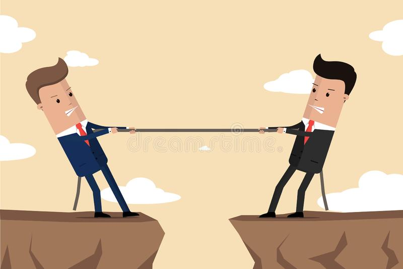 De zakenlieden in kostuum trekken de kabel bij rand van klip Symbool van de concurrentie in zaken Collectieve conflicten Vector i stock illustratie