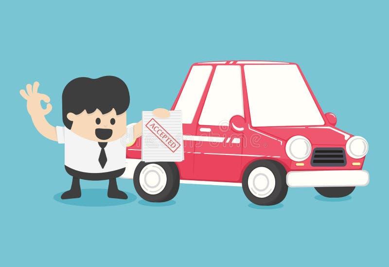 De zakenlieden maken auto goedgekeurde contracten kopen, vector illustratie