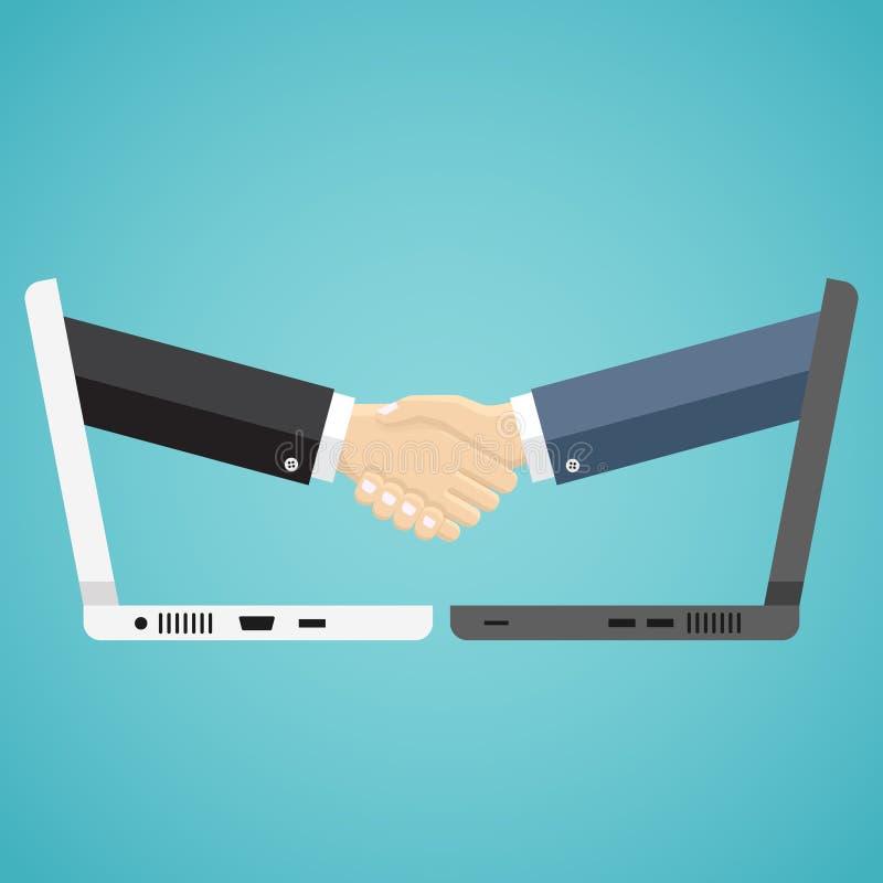 De zakenlieden schudden handen van twee computers stock illustratie
