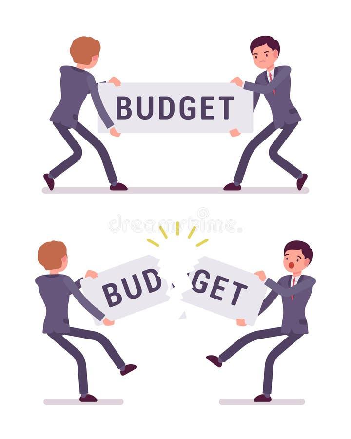 De zakenlieden trekken en tearing een woordbegroting vector illustratie