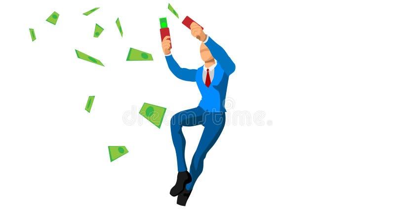 De zakenlieden verspillen geld uitdrukking en viering van overwinning Financi?le Vrijheid royalty-vrije illustratie