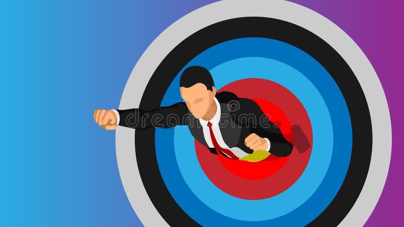 De zakenlieden vliegen door het doel stock illustratie