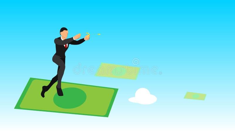 De zakenlieden werpen gouden muntstukken in de hemel vlakke vectorkarakters met stevige kleuren het surfen met geld leeg malplaat stock illustratie