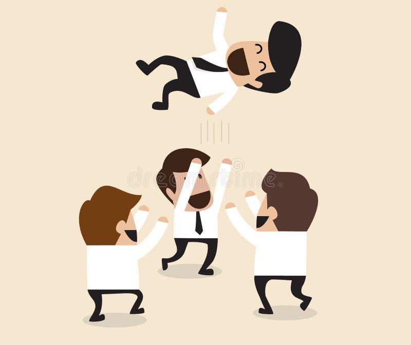 De zakenlieden werpen op teammate aan de lucht voor gelukwens royalty-vrije illustratie