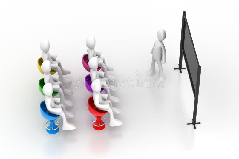 De zakenlieden zitten een rond bureauvergadering royalty-vrije illustratie