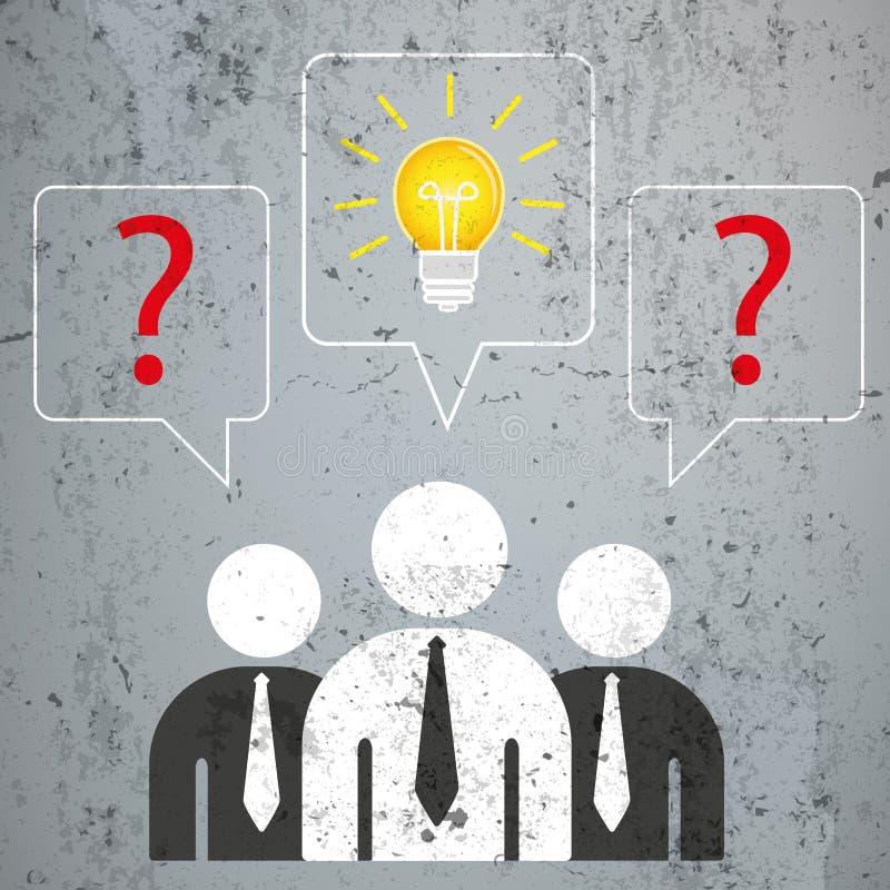 3 de zakenliedentoespraak borrelt Vragenoplossing vector illustratie