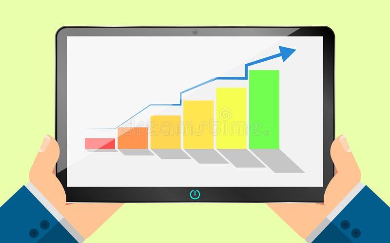 De zakenman bekijkt het zwarte tabletscherm op een de groeigrafiek Stappenstijging en beweging omhoog De kleur van de diagramvera vector illustratie