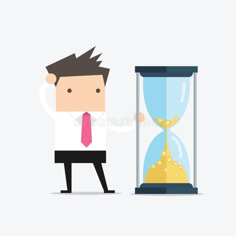 De zakenman bekijkt zandloper met Gouden muntstukken De tijd is geld stock illustratie