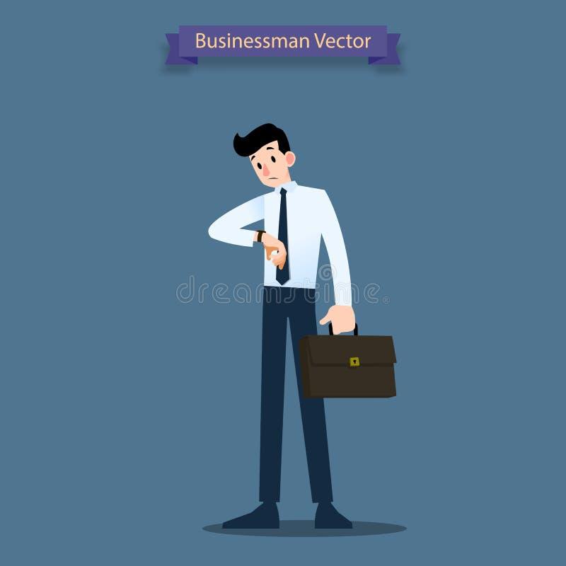 De zakenman bekijkt zijn horloge om de tijd en het wachten op medewerker of zijn handelaar over minuut aan uur te controleren royalty-vrije illustratie