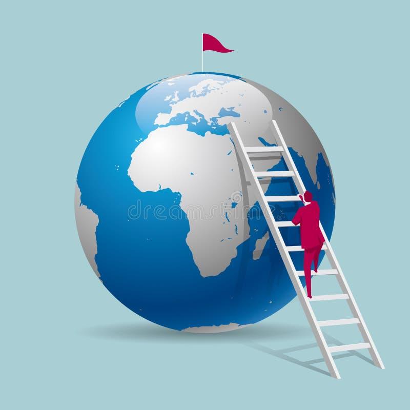 De zakenman beklimt de aarde van de ladder, is er een Wimpel bij de bovenkant stock illustratie