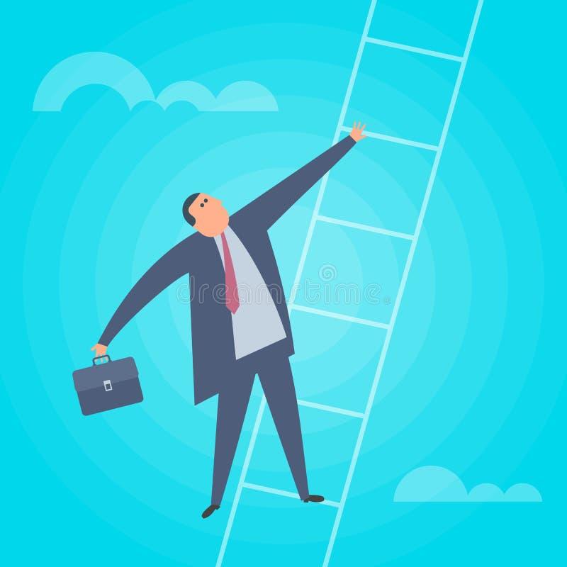 De zakenman beklimt op een ladder Bedrijfsconcepten vlakke vector ziek vector illustratie