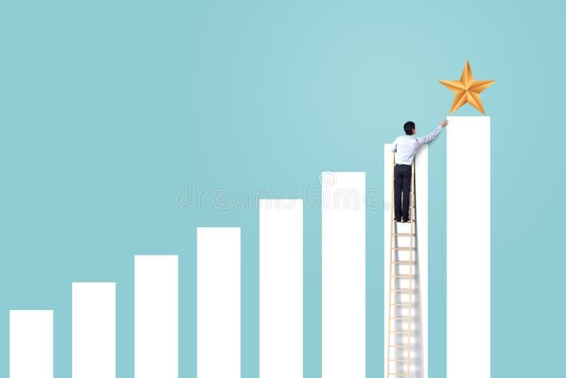 De zakenman beklimt op het toenemen grafiek op ladder om ster, succesvolle en winstconcept te bereiken stock afbeeldingen