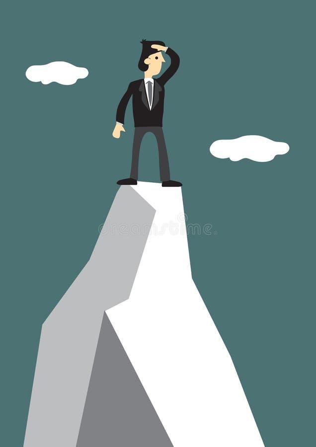 De zakenman beklimt tot de bovenkant van de berg om een nieuw doel te zoeken Concept leiding en uitdaging van collectieve wereld stock illustratie