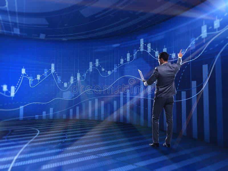 De zakenman in beurs handelconcept vector illustratie