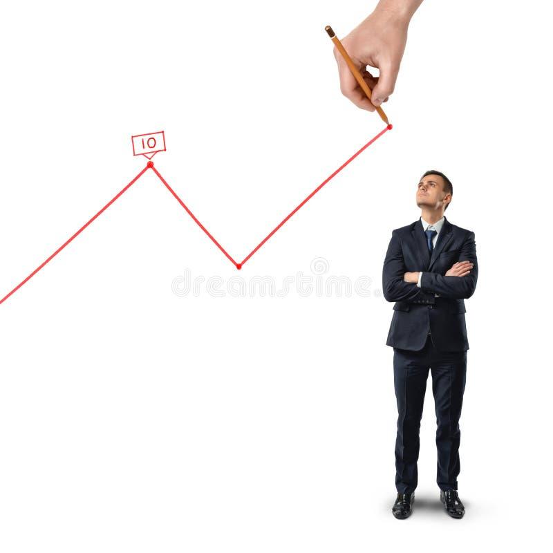 De zakenman bevindt zich met gevouwen wapens bekijkend upwards groot handtekening het toenemen diagram dat op witte achtergrond w stock fotografie