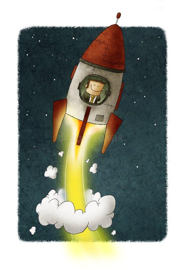 De zakenman binnen een raket reist door ruimte stock illustratie
