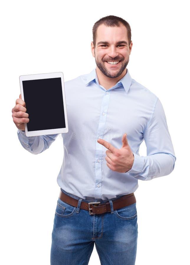 De zakenman in blauw overhemd toont het aanrakingsscherm royalty-vrije stock foto
