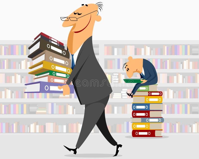 De zakenman brengt documenten vector illustratie