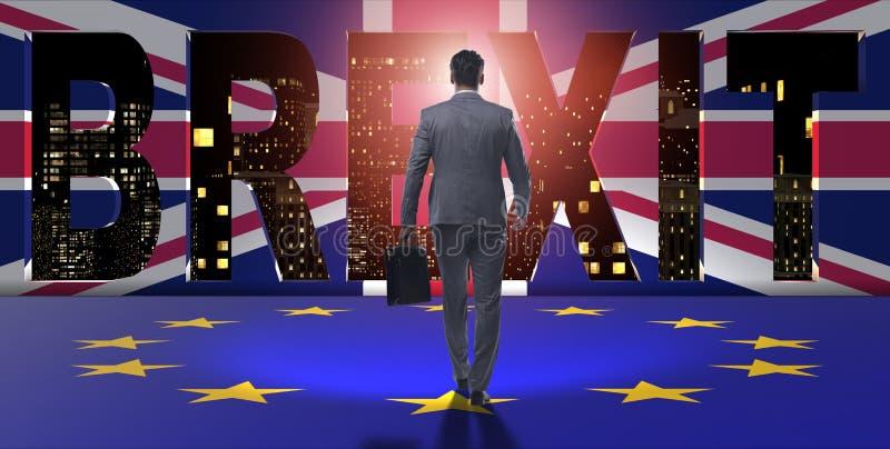 De zakenman in brexitconcept - het UK die de EU verlaten royalty-vrije illustratie
