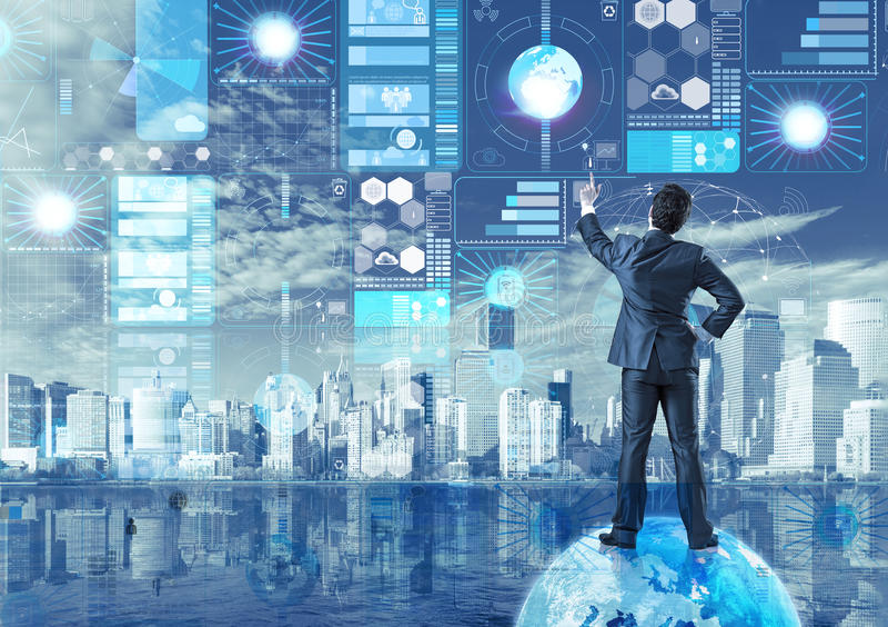 De zakenman in concept voor het exploiteren van gegevens stock afbeelding