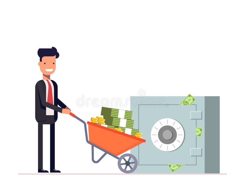 De zakenman of de manager dragen geld in kruiwagen aan een gesloten de bouwbrandkast Veiligheidsopslag van Financiën Vector vector illustratie