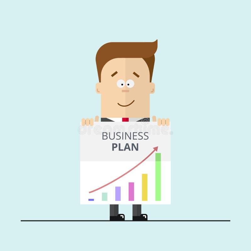 De zakenman of de manager in een kostuum tonen businessplan royalty-vrije illustratie