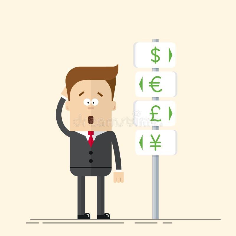 De zakenman of de manager hebben de keus van munt Tekens van globale munten Een mens in een pak neemt een besluit royalty-vrije illustratie