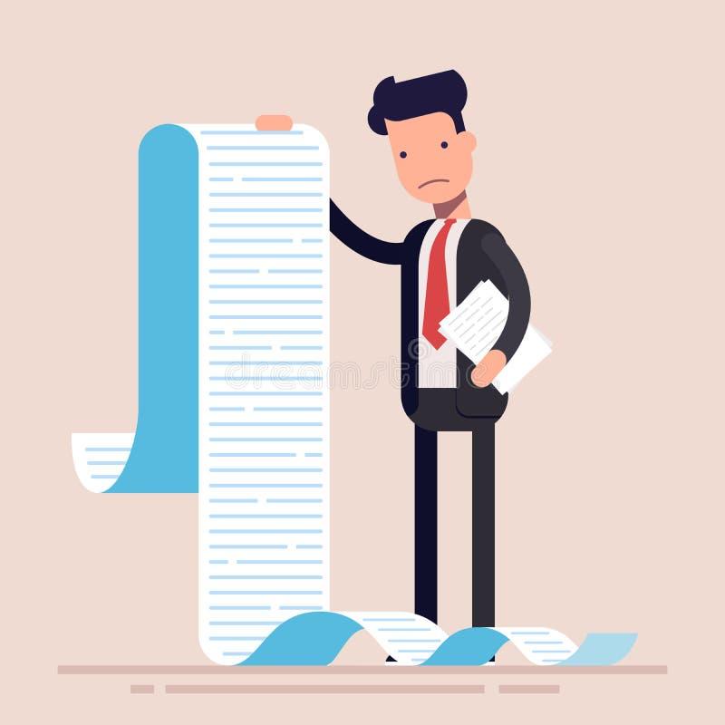 De zakenman of de manager, houdt een lange lijst of een rol van taken of vragenlijst Mens in een pak vlak karakter stock illustratie