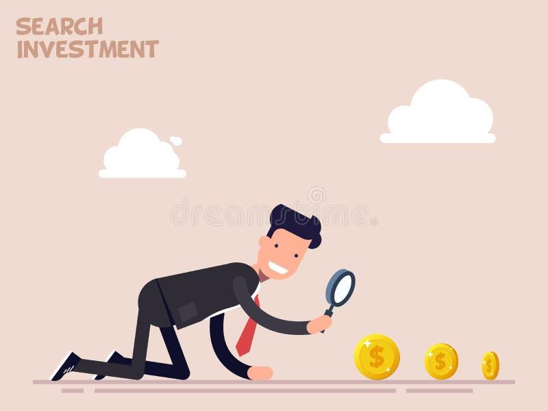 De zakenman of de manager kruipen op alle fours op zoek naar geld en investering in zaken Vectorillustratie in een vlakte stock illustratie