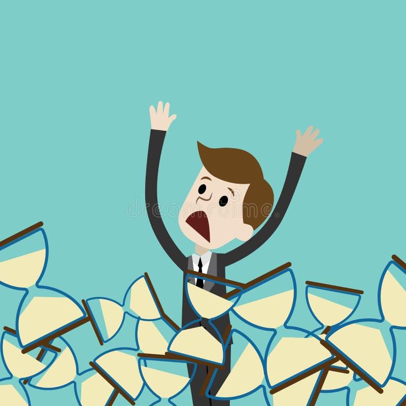 De zakenman of de manager verdrinken in sandglass Het losmaken van tijd Vector illustratie royalty-vrije illustratie