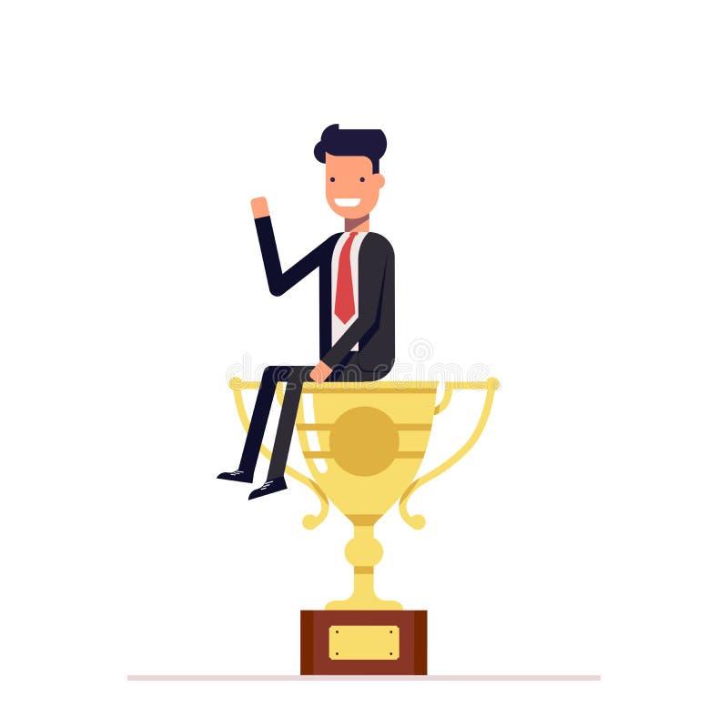 De zakenman of de manager zitten op een grote kop De mens in pak won eerste plaats en ontving de prijs Vector stock illustratie