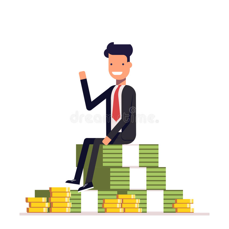 De zakenman of de manager zitten op een grote stapel van geld en het golven Vector, illustratie EPS10 stock illustratie