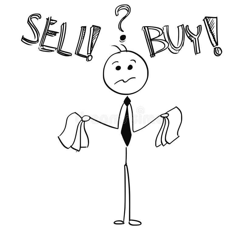 De zakenman Deciding Between Buy en verkoopt Besluit stock illustratie
