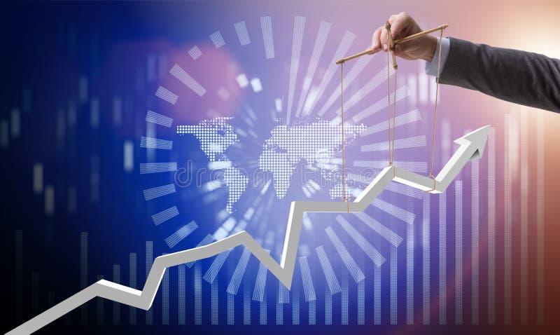 De zakenman die de groei in economie houden stock afbeelding