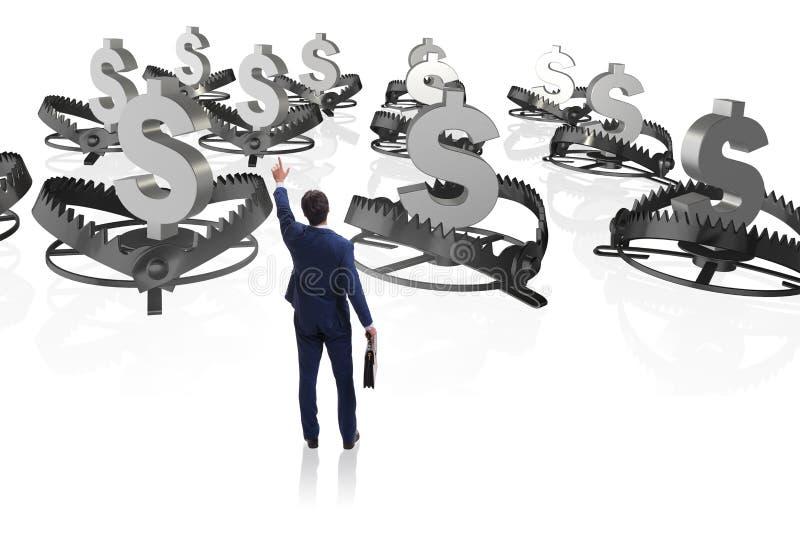 De zakenman die door dollar worden opgesloten royalty-vrije illustratie
