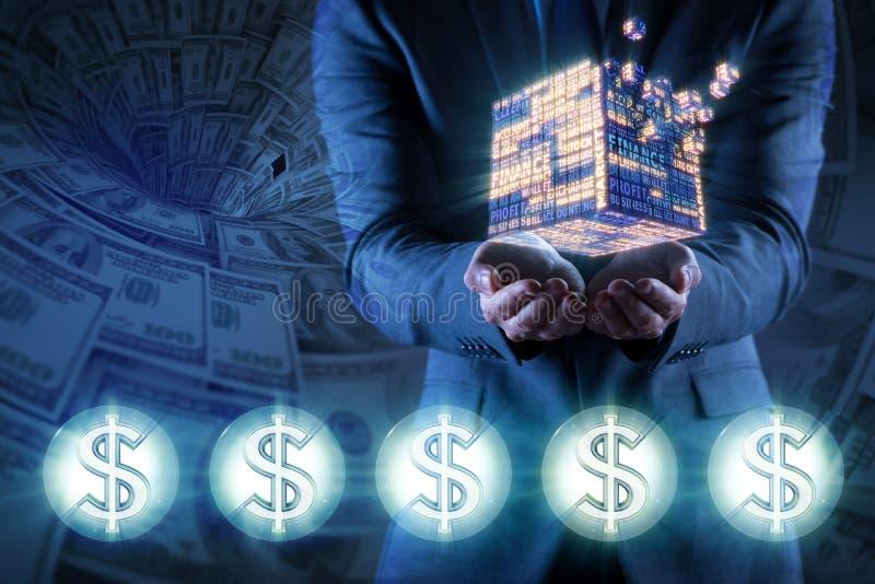 De zakenman die financiële kubus in bedrijfsconcept houden stock foto's