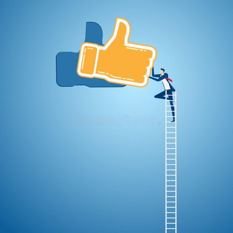 De zakenman die ladder beklimmen aan Duim ondertekent omhoog en succes Het positief koppelt concept terug vector illustratie