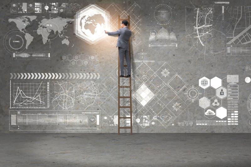 De zakenman die ladder in globaal bedrijfsconcept beklimmen vector illustratie