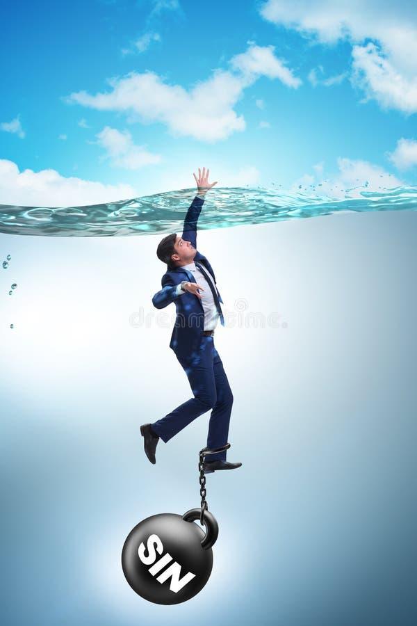De zakenman die onder de last van zonde en schuld verdrinken stock afbeelding